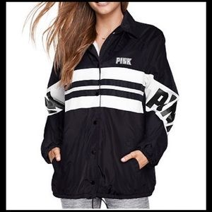 PINK by VS- Sherpa Lined Snap Coaches Jacket